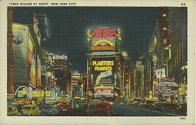 Times Square at Night Planters Peanuts Vaudeville Sign NYC 1947 Linen Postcard