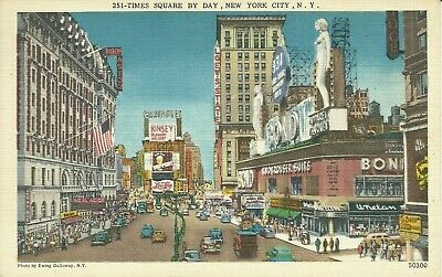 Times Square by Day Bond Pepsi Sign 1940 New York City Linen Postcard