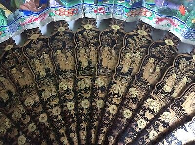 Antique Chinese Hand Fan Lacquered Wood Double Sided Filigree 1000 Faces Export