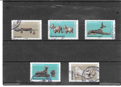 France 2018.CHIENS Outsider Artwork Art.lot of 5 Single Stamps Self-Adhesive