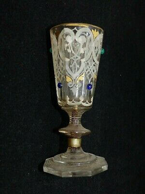 Unusual Antique 19th Century Octagonal Jewelled / Gilded Drinking Glass