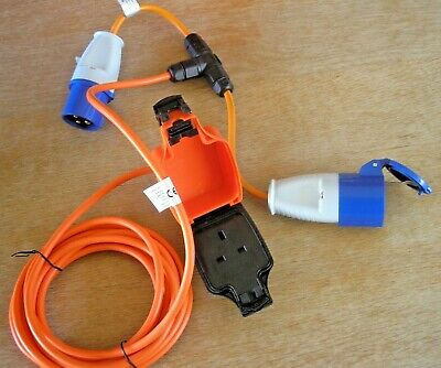 Caravan or Generator 230v hook-up 1-2 SPLITTER; + optional UK Awning adapter