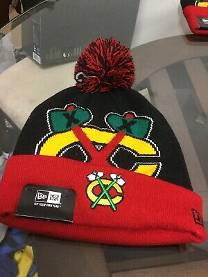 ea62b9a57 NWT Chicago Blackhawks New Era Big Logo Winter Pom Knit Hat Cap New With  Tags