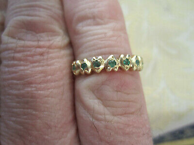 VINTAGE STYLE  EMERALD SEVEN STONE HEART SHAPED 9ct GOLD OVER SILVER RING SIZE 0