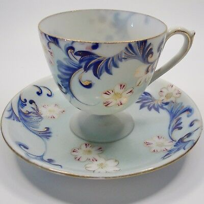 Fine Vintage Demitasse Cup And Saucer White Flowers Dark And Light Blue Scrolls