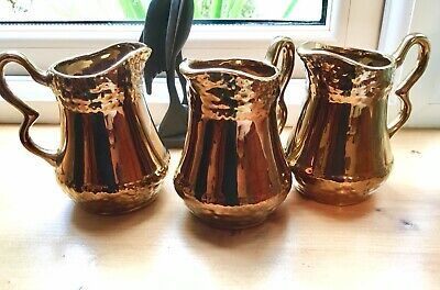 Set of 3 Hand-painted Vintage OldCourt Ware Copper/Gold Lustre Jugs, Excellent