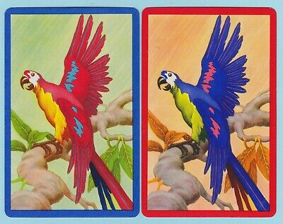 2 Single VINTAGE Swap/Playing Cards MACAW PARROT BIRD ON BRANCH Blue/Red Borders
