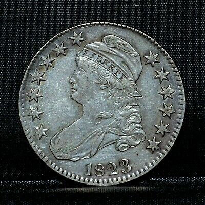 1823 Capped Bust Half Dollar ✪ Au Almost Unc ✪ 50C Silver L@@K Now ◢Trusted◣