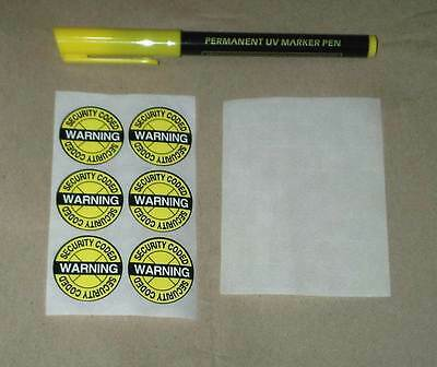 Ultra Violet UV Pen Property / Bike Cycle Marking Kit  Security with stickers