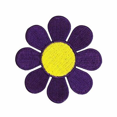 "Daisy Flower Iron On Patch Embroidered 1/"" White Purple Hippie 60s Hippy 22001"