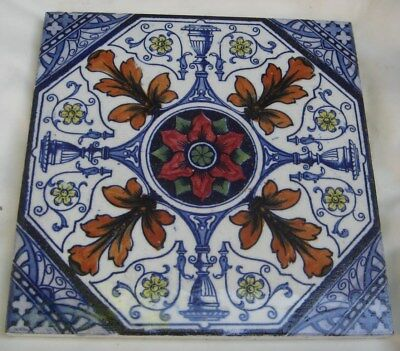 Striking English Period Tile. Flower Urns Classical  Very  Colourful Design