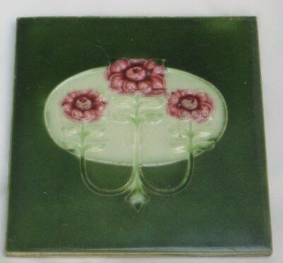 Pretty Minton Hollins Art Nouveau Period Tile Flowers Leaves