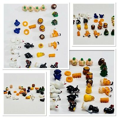 Glass Animal Beads Birds Cows Drums Pumpkins Trees Bundle Bright Colors