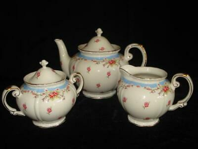 Lovely~Gracie China~Vintage Blue Rose~5 Cup Porcelain Teapot~Creamer~Sugar~Gold