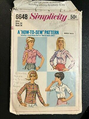 ⭐Simplicity 6648 Vintage '60s Sewing Pattern Miss 14 Blouses How to Sew⭐