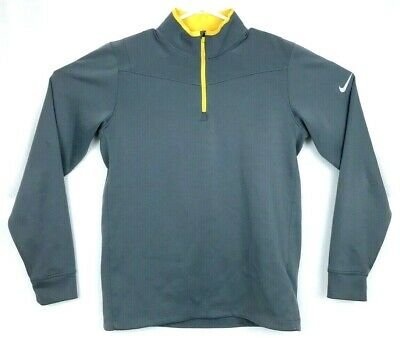 a9f8f959 Nike Men's Golf 1/4 Zip Dri Fit Long Sleeve Pullover Gray Yellow Size Small