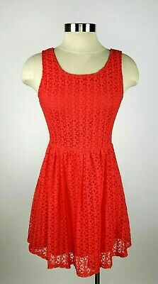 Forever 21 Juniors Small Coral Lace Overlay Sleeveless Zip Fit & Flare Dress