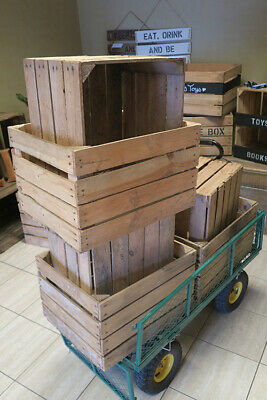 6 x BARGAIN CLEARANCE - Wooden Apple Crates Fruit Box - Free Next Day Delivery