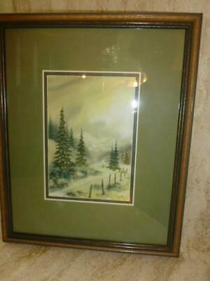 Vintage Mid Century Pine Tree Mountain Trail Signed Framed Water Color Painting