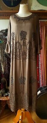 Superb 1920s Brown Crepe Satin Beaded Dress Gown Vintage Art Deco 20s Antique