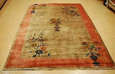 Circa 1920s ANTIQUE MINT ART DECO CHINESE WALTER NICHOLS RUG 6x8.7 BEAUTY