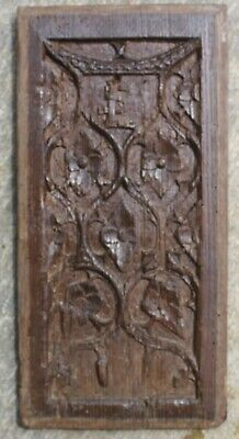 RARE EARLY 16th CENTURY ARMORIAL,GOTHIC TRACERY PANEL, Medieval Carving