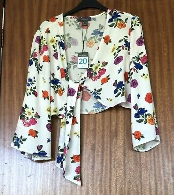 446cadaad78 New Primark Ladies Ivory Floral Tie Front Crop Top With 3/4 Sleeves Size 20
