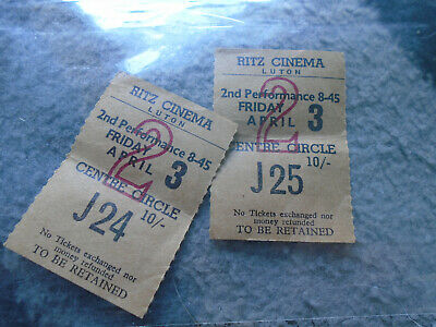 Ritz Cinema Luton Tickets April 3Rd Centre Circle X 2 Old 10 Shillings Tickets