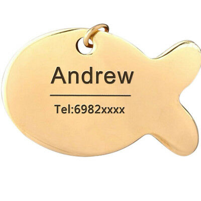 Hot Pet puppy Cat Metal Nameplate Fish Identity Card Custom Engraved ID Tag  QP