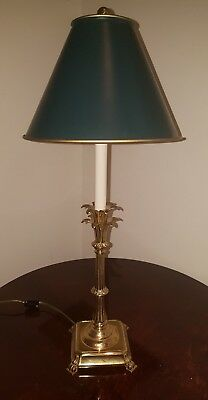 """""""French Empire"""" High Polished Brass Pineapple Leaf Candlestick Lamp"""