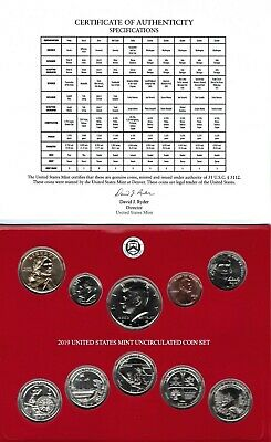 (10)  TEN SETS 2019 P & D 20-Coin Uncirculated Coin Set NO W. CENT.  In Stock!!!