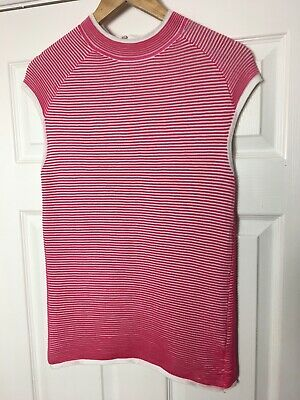 Next Pink And White Stripe Knit Sleeveless Top Size 12