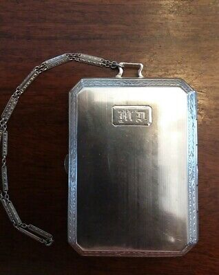 Sterling Silver Ladies Cigarette Case With Wrist Chain Monogrammed