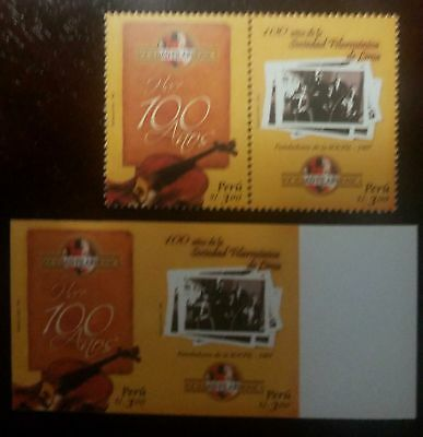 O) 2008 Peru, Imperforated And Perforated, Musical Instrument, Bass-Contrabajo