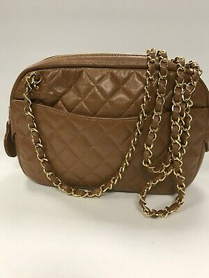807725ecd21b Chanel Quilted Chain Lambskin Leather Camel Purse With Gold Crossbody Chain