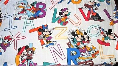 Vtg Dundee Mickey Minnie Mouse Donald Abc Crib Toddler Fitted Bed Sheet Disney