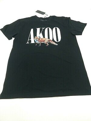 New Fashion Akoo Brand Black 2xl Men's Short Sleeve T-shirt W/ Fox Men's Clothing Akoo Vinyl Graphic
