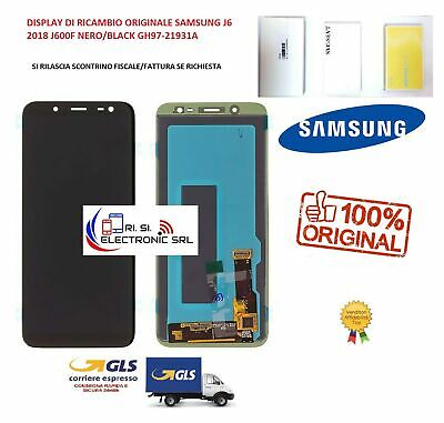 Lcd Display (Amoled) Di Ricambio Originale Samsung J6 2018 J600F Nero/Black Gh97