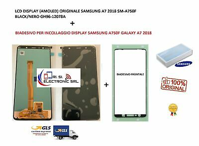 Lcd Display (Samoled) Di Ricambio Originale Samsung A7 2018 Sm-A750F Black/Nero