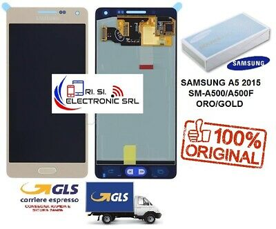 Lcd Display (Amoled) Di Ricambio Originale Samsung A5 2015 Sm-A500F Oro/Gold Gh9