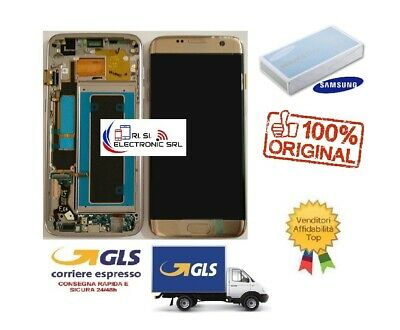 Lcd Display (Amoled) Di Ricambio Originale Samsung S7 Edge G935F Frame Gold Gh97