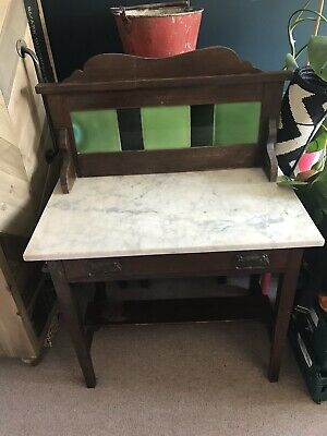 Vintage Marble Top Wooden Washstand Antique Wash Stand
