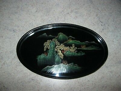 Beautiful Asian Wooden Hand Painted Small Oval Tray