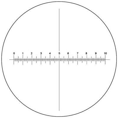 Microscope Eyepiece Reticle Cross Line Micrometer Ruler X-Axis Crosshair 16mm