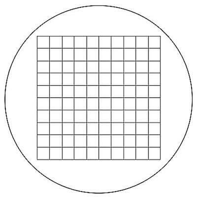 Microscope Eyepiece Reticle Net Grid Micrometer 10x10mm, 100 Squares, Dia. 18mm
