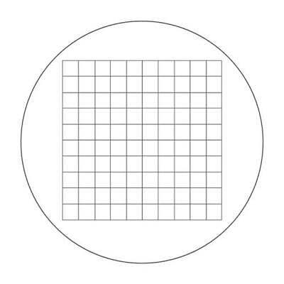 Microscope Eyepiece Reticle Net Grid Micrometer 10x10mm, 100 Squares, Dia. 22mm