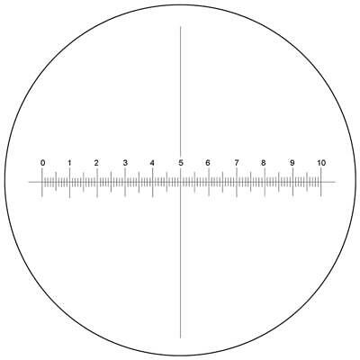 Microscope Eyepiece Reticle Cross Line Micrometer Ruler X-Axis Crosshair 27mm/10