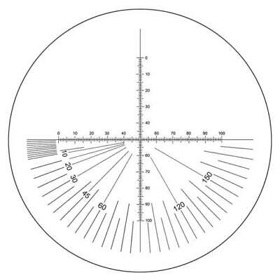 Microscope Eyepiece Reticle Cross Line Micrometer Ruler, 180° Angle Dia. 24mm