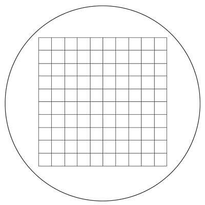 Microscope Eyepiece Reticle Net Grid Micrometer 10x10mm, 100 Squares, Dia. 27mm