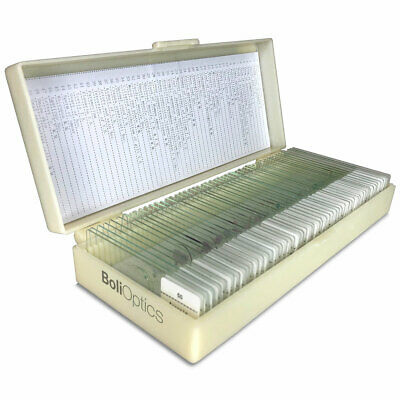 50 Prepared Microscope Slides Specimen Set, Plant Animal Human Anatomy Cells